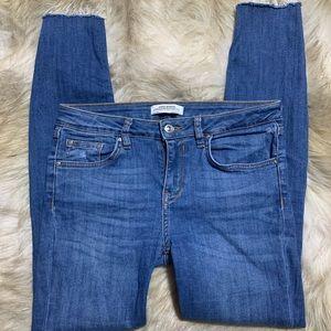 Zara Skinny Leg Raw Hem Jeans